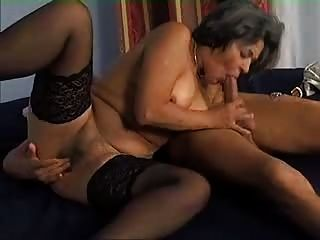 Granny In Stockings Likes Cock