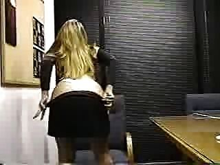 Beauitiful Blonde Strips In Office
