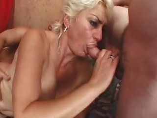 Blond Mature And 2 Guys