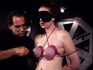 Blindfolded And Bounded Slave Catherine Has Her Tits Also Bound By Her Master