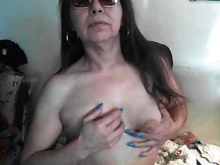 Saggy Puffy Large Nipples Older On Webcam