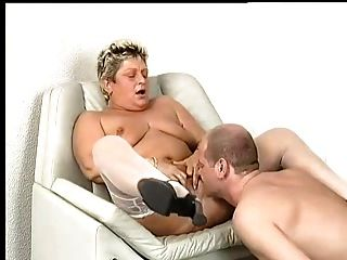 Chubby Granny In White Stockings Sucks And Fucks
