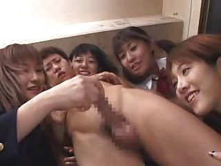 Five Asian Schoolgirls, One Wanking This Guy (censored)