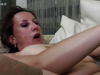 Grandma Fucks Milf And Young Girl On The Couch