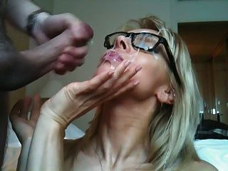 Blonde Gets A Huge Load Of Cum In Her Face