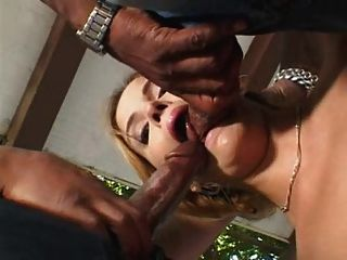 Brunette orgasmic and hysterical with two big black cock 3