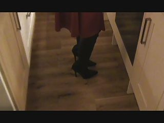 Satin Red Dress, Leather Boots, Stockings And Corset