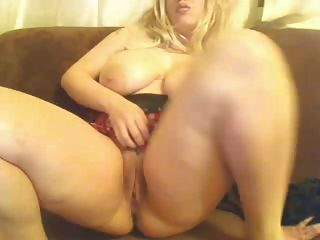 Horny Fat Chubby Blonde With Big Tits Masturbating Her Pussy