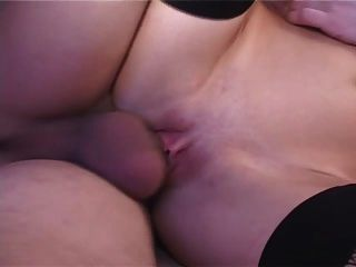Russian With Awesome Tits Fucked In Black Stockings And Cummed On