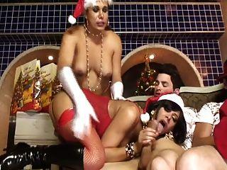 The Strange Orgy Of Chubby Shemale Santa
