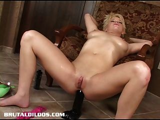 Blond Teen Fills Her Asshole With A Brutal Dildo