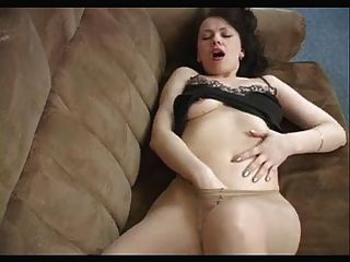 Milf Getting Off On The Couch In Pantyhose