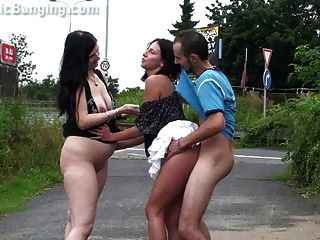 Public Threesome Sex With 2 Girls Part 2