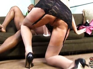 Granny Rebecca Bardoux Creampied By Black Right Into Ass