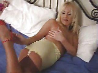 Blonde Babe In Tan Stockings