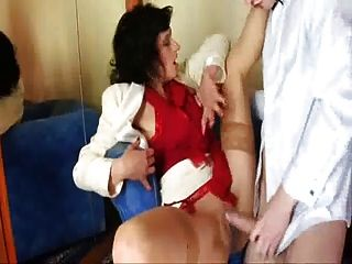 Brunette Mom Have A Sex At All Holes!