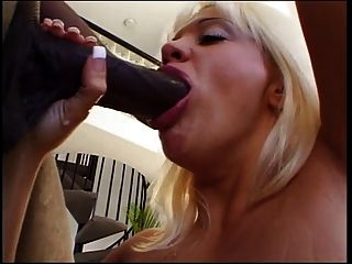 Blonde Mouth Drains A Massive Black Wang