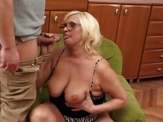 Chubby Blonde Granny Fucks Younger Guy