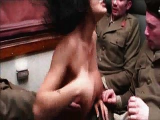 Italian Lady In Train With Three Sodiers