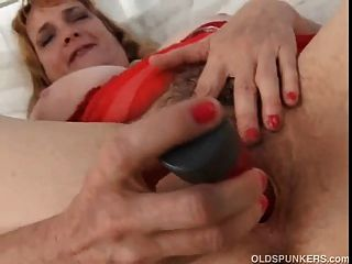 Mature Amateur Fucks Her Fat Hairy Pussy Until Its Nice And