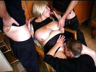 Big Tit Mamma Fucks 3 Young Guys
