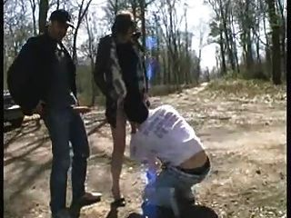 Lea, French Milf, Gangbanged In A Public Forest