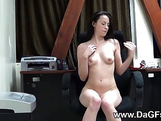 Horny Teen Teasing At The Office