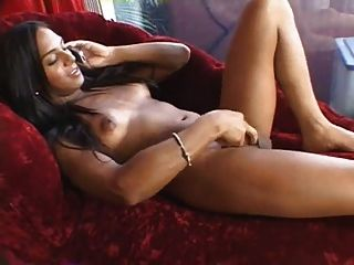 Big Cock Shemale Strokes While Speaking With Her Boyfriend