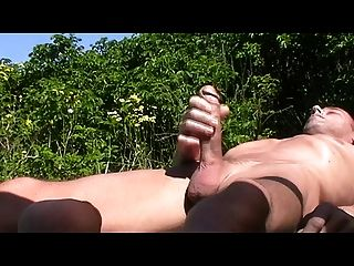 Gay Henndrik Lie At Beach Jerking Solo Cum