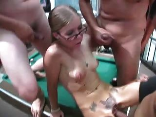 Four Eyed Wife Tabitha Cuckolds Him With His Friends