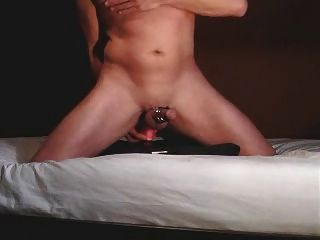 Riding A Dildo, Wanking And Cumming