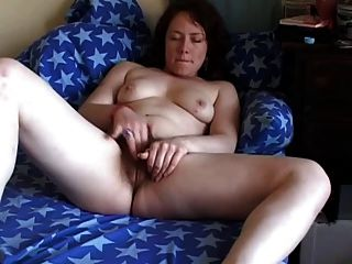 Horny Chubby Brunette Girlfriend Rubbing Her Hairy Pussy