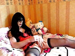 Tranny Supersatin Blows A Big Sticky Load