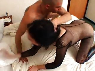 Hot Chick In Body Stocking Gets Ass Fucked, Then Swallows