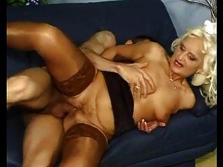 White Haired Tarty Granny In Stockings Fucks