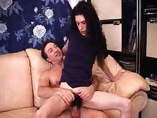 Skinny Hairy Bitch Gets Fucked In All Holes