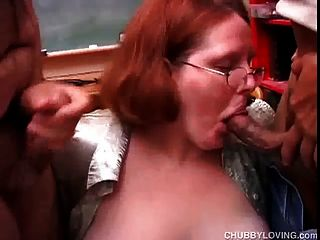 Cute Chubby Redhead Enjoys A Double Header And A Big