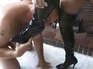 British Busty Milf Makes Man Lick Her Boots