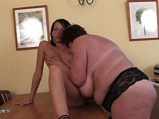 Chubby Mother Playing With A Hot Young Girl