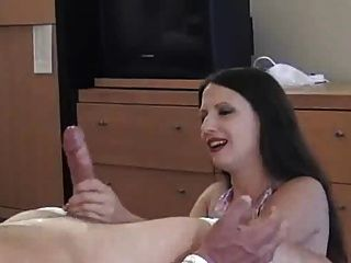 Tied post orgasm handjob funny technique 8