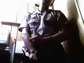 Good Looking Security Guard Wanking At Work In His Uniform