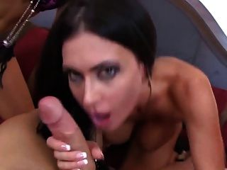 Three Brunette Pornstars Sucking One Dick