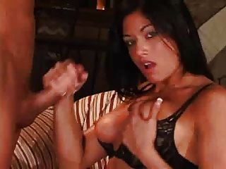 Black Haired Beauty Gives Handjob To Thick Cock
