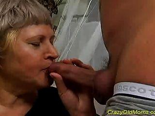 Crazy Old Mom Gets Cumshot Sex