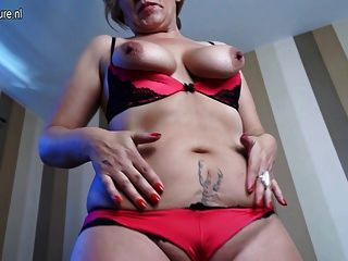 Blonde Mature Slut Mom Masturbating On The Couch