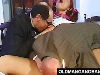 German Schoolgirl In Anal Gangbang With Old Perverts