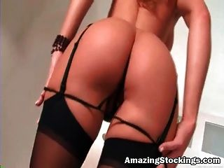 Busty Milf In Sexy Black Stockings Playing With Shaved Pussy