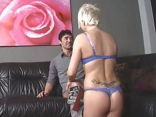 Mature Blond Lady Getting Fucked On The Couch