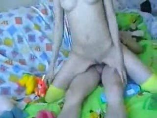 Sexy Skinny Rides Cock And Takes A Facial