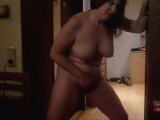 Horny Mature Wife Masturbating Standing. She Cums !!